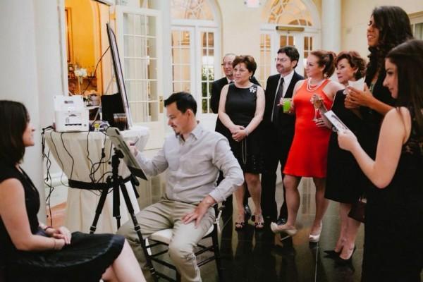 Jon Casey draws for a wedding in San Jose